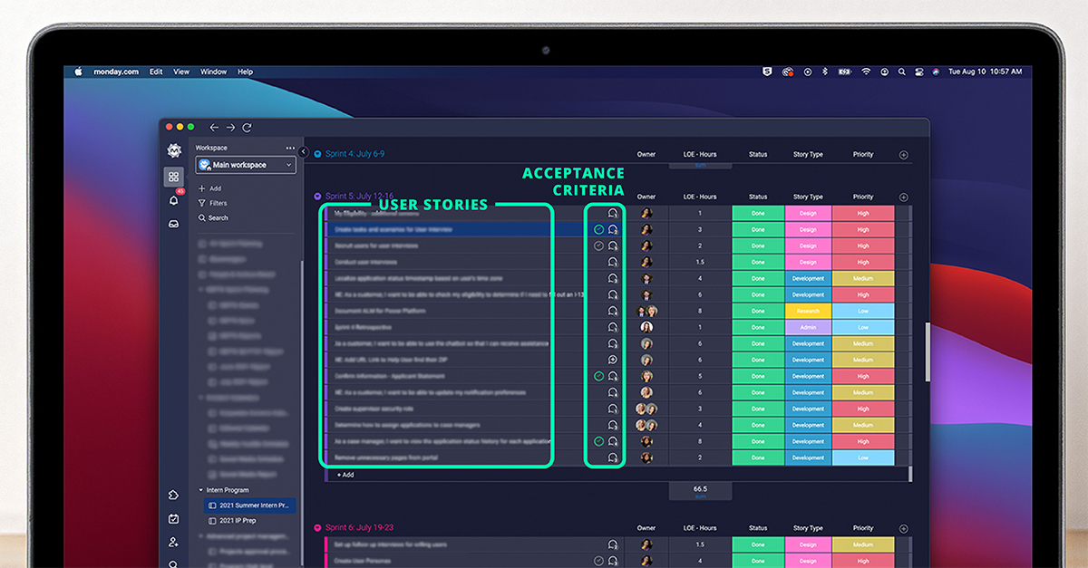 screenshot of Agile Board on Monday showing user stories and acceptance criteria