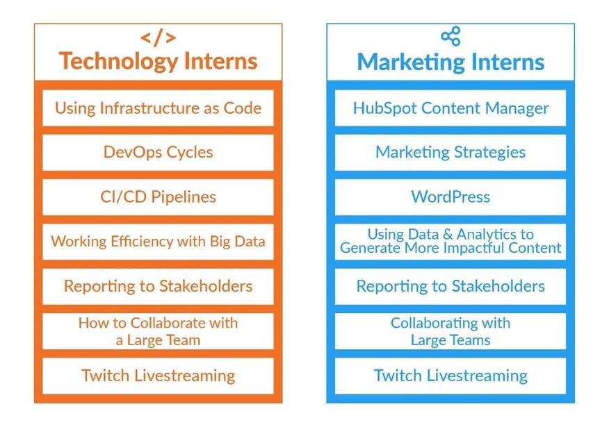 A list of key skills botch technology and marketing interns will learn.