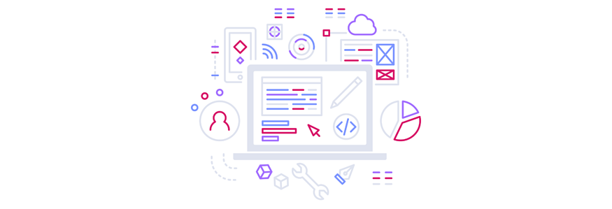 colorful line art illustration of data, apps, cloud, and laptop
