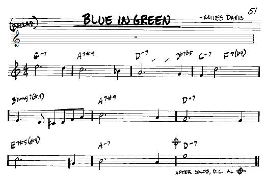 blue in green sheet music