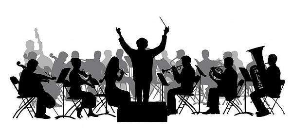 black and white illustration of music conductor conducting an orchestra