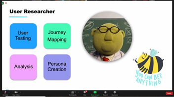 powerpoint slide showing user researcher information