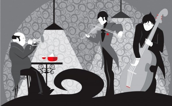 black and white illustration of a live band with a glass of red wine sitting at a table